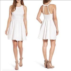 Soprano White Polka Dot Back Bow Skater Dress